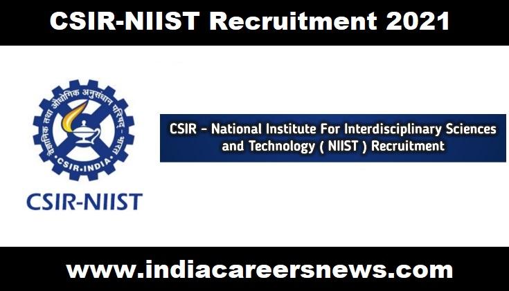 CSIR-NIIST Recruitment