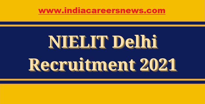 NIELIT Delhi Recruitment