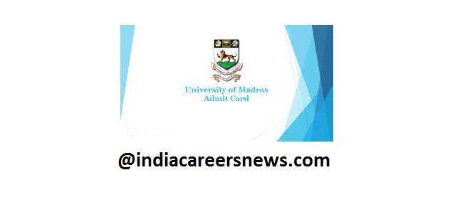 Madras University Admit Card