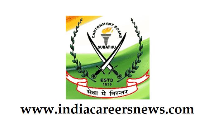 Cantonment Board Subathu Recruitment